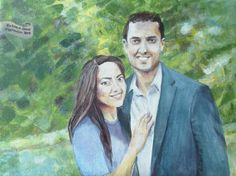 Wedding portrait painting / Marriage or Engagement art by Arlissa Vaughn www.specialeventpainter.com