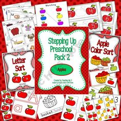 Pre K apples unit   Activities include: patterns, counting,   number order, upper/Lower Case, Letters, colors, matching, coloring,   writing letters, memory, size sorting