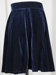 Isabella Blue Velvet Skater Skirt at Beatnik Emptiness