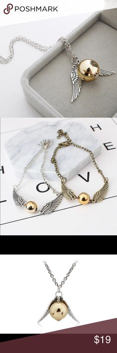 Necklace Men Vintage Style Angel Wing Popular  Necklace Men Vintage Style Angel Wing Charm Golden Snitch Pendent Necklace For Men Necklace Chain QueenEstherEtc Jewelry Necklaces