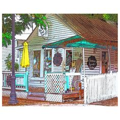 The Six Toed Cat Cafe in ever quirky Key West Florida holds its own in this Glicee print of digital art based on an original photograph by Rebecca