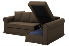 Storage space inside the MOHEDA corner sofa bed gives you a convenient place to keep the bedding.