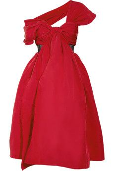 Gorgeous! And in one of fall's hottest colors. Prabal Gurung marbled red silk-faille dress