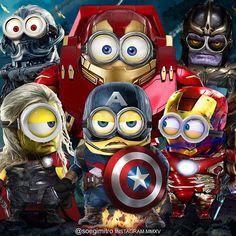 The Avenger Minions ~ Avengers Funny Minion Pictures, Minions Funny Images, Cute Minions, Minions Despicable Me, Minions Quotes, Funny Photos, Minion Rock, Minion Art, Minion Avengers