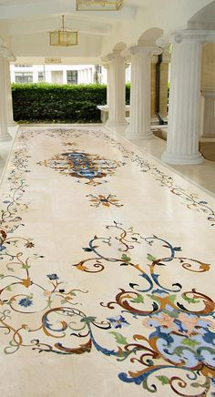 Many people don't realize that marble can be used in many outdoor situations. Here we have used all natural stone to create a welcoming floor for this covered walkway. Luxury Homes Dream Houses, Luxury Homes Interior, Home Interior Design, Floor Design, Tile Design, Floor Murals, Decoration Inspiration, Floor Patterns, Classic Interior