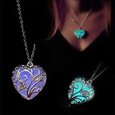 Ciondoli Cuore Luminescente  Disponibile su Fogliaviola.com    #fantasy #collana #ciondolo #luminescente