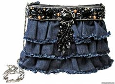 girly blinged and ruffled denim bag - (duplicate on this board--ph)