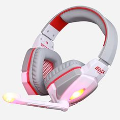 Pro Gaming Headset Headphones with Microphone LED Light Stereo Surround Headband Fone De Ouvido for Computer PC Gamer Gaming Earphones, Led Headphones, High End Headphones, Best Gaming Headset, Headphones With Microphone, Headphone With Mic, Wireless Headset, White Headphones, Pc Computer