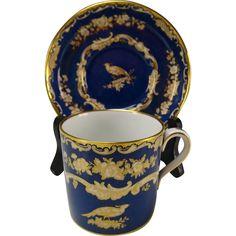 Antique Spode Copeland/Tiffany & Co Porcelain Blue Gilt Cup Saucer Coffee Cups And Saucers, Tea Cup Saucer, Blue Cups, Tiffany, Fun Cup, Espresso Cups, Fine Porcelain, Tea Pots, Antiques