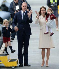 William Duke of Cambridge, Prince George, Princess Charlotte, Catherine Duchess of Cambridge at the seaplane terminal in Victoria harbour. British Columbia. October 1 2016