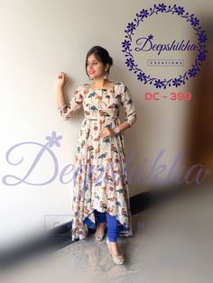Beautiful cream color asymmetric with flamingo bird print.DC 399.For Queries kindy whatsapp : +91 9059683293 26 July 2017