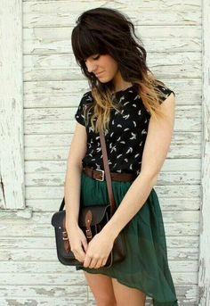 Black shirt + green skirt + brown belt