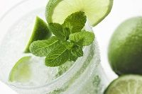 Glass of Mojito-Flavored Water Kefir-  Mint, lime, and sweet-tangy water kefir. Perfect front porch refreshment!