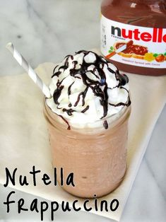 Frappuccino Recipe Enjoy the delicious chocolate and hazelnut flavor of Nutella in this tasty frozen Frappuccino!Enjoy the delicious chocolate and hazelnut flavor of Nutella in this tasty frozen Frappuccino! Nutella Drink, Nutella Smoothie, Nutella Milkshake, Milkshake Recipes, Smoothie Drinks, Milkshakes, Nutella Mousse, Smoothie Recipes For Kids, Iced Coffee