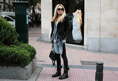 Dree Hemingway in an edgy leather and denim style.