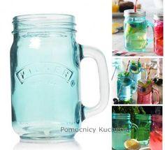 Niebieski słoik szklany z rączką 0,4l kubek (bez nakrętki) KILNER