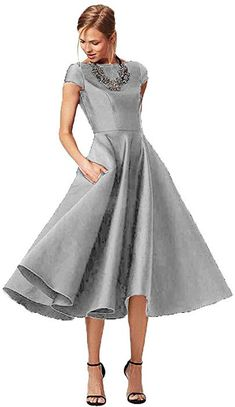 64e9146d877 Fashionbride Women s Formal Evening Gown Satin Short Sleeve Tea-Length  Mother of The Bride Dress Silver-US18W at Amazon Women s Clothing store