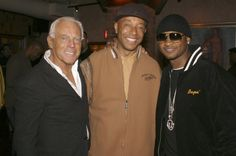 Pin for Later: 80 Reasons Birthday Boy Giorgio Armani Is the World's Most Stylish Man Giorgio Armani Giorgio Armani with Russell Simmons and Usher at a screening of Get Rich or Die Tryin, October 2005.