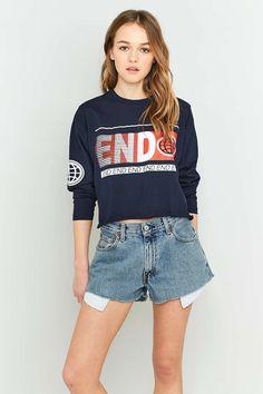 Urban Renewal Vintage Customised Raw Cut Denim Shorts