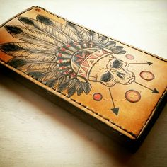 Indian skull tattoo on leather wallet Indian Skull Tattoos, Leather Wallet, Tatoos