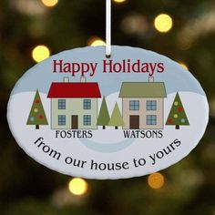 Personalized From Our House to Yours Oval Ornament, White
