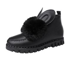 Passionow Women's Winter Warm Slip-on Rabbit Ears Fur Lined Sewing Vamp Snow Boots -- Awesome boots. Click the image : Desert boots Shoes Boots Ankle, Ankle Booties, Bootie Boots, Shoe Image, Rabbit Ears, Desert Boots, Cool Boots, Black Boots, Slip On