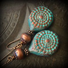 Polymer Clay, African Copper, Beaded Earrings by YuccaBloom on Etsy