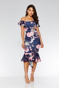 Vestido Azul Marino y Rosa con Estampado de Flores, Volante y Cuello Bardot