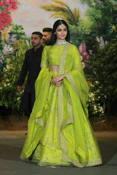 May, Alia Bhatt radiant in green lehenga at Sonam Kapoor wedding. Indian Lehenga, Sabyasachi Lehenga Bridal, Green Lehenga, Lehenga Choli, Alia Bhatt Lehenga, Bollywood Lehenga, Sharara, Sonam Kapoor Lehenga, Anarkali