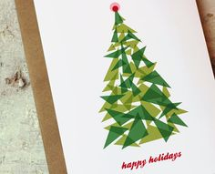 Christmas Cards Set of 10  Christmas Tree Mod by BubbyAndBean, $20.00