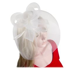 Fascinator Feather Cocktail Bridal Headwear Hat Hair Clip Women Party in White
