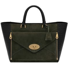 Willow Tote Black Shrunken Calf & Evergreen Suede ($1,890) ❤ liked on Polyvore featuring bags, handbags, tote bags, totes, black tote, structured tote, black pouch, mulberry tote and suede handbags