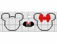 Cross Stitch Charts, Cross Stitch Patterns, Hama Disney, Mickey Mouse Characters, Diy Friendship Bracelets Patterns, Bracelet Patterns, Valentine Gift Baskets, Fillet Crochet, Disney Ears