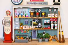 DIY Pretend Play Hardware Store Tutorial for making this fun DIY hardware store and gas station complete with coffee machine, paint store and lots of interactive play areas. Play Spaces, Kid Spaces, Play Areas, Store Concept, Play Market, Deco Kids, Toy Rooms, Dramatic Play, Creative Play