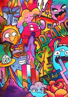 Image of 'Dreams' full page Doodle (Limited Edition, Signed & Embossed) is part of Art sketches doodles - Cartoon Wallpaper, Pop Art Wallpaper, Graffiti Wallpaper, Graffiti Artwork, Galaxy Wallpaper, Easy Doodle Art, Doodle Art Designs, Doodle Art Drawing, Cool Doodles