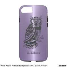 Plum Purple Metallic Background With Black Owl