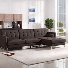 OPUSRFSECTCH - Opus Convertible Tufted RF Chaise Sectional, CHOCOLATE