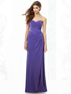 The After Six 6698 bridesmaid dress is simply stunning. Full-length and strapless with a sweetheart surplice bodice, Maracaine jersey gives this gown a great fit and lovely drape without any added thickness. #timelesstreasure