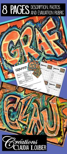 Art project for Grade 5 and up. Can also be used for junior high and high school. Create graffiti with the help of many mediums and techniques. Instructions on 2 pages in PDF format, examples of different fonts to use and pictures of my graffiti on 8.5 x 11 sheets. Enjoy! Evaluation rubric included.