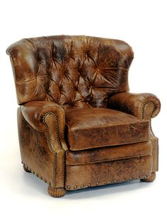 Cambridge leather recliner shown in this picture in a very distressed leather. Ships FREE from NC.
