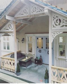 Swedish Cottage, Red Cottage, Swedish House, Albion House, Norwegian House, Cottage Porch, House Trim, Ranch Remodel, Cottage Furniture