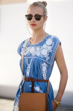 86969115981f Dress  blue zara tunic embroideries white blue white Jeans Kleid, Blaues  Kleid, Modisch