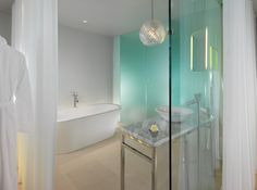 Our beautiful glass bathroom fitting was created for Sanderson London