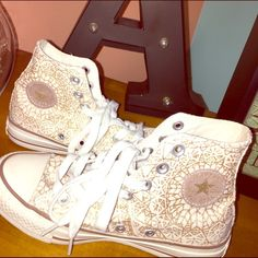 Glittered High-top Converse super cute, unique converse that can be styled up or down either way :-) sadly they're far too small for me, but I have never worn them! They're brand new + very adorable! Any buyer would be lucky to have this staple item for their closet!! хoхo, Andrea < 3 Converse Shoes Sneakers