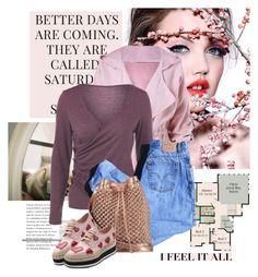 """I feel it all"" by elmaimsirovic ❤ liked on Polyvore featuring Berta, Levi's, nooki design, Prada, Pink, purple and rosegal"