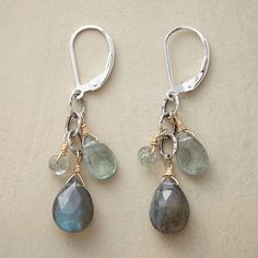 Hanalei Earrings -- Wrapped in 14k gold filled, gems cascade from hammered sterling silver links, with labradorites and aquamarines and lever back wires.