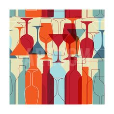 Seamless Background With Wine Bottles And Glasses Art Print by mcherevan at Art.com