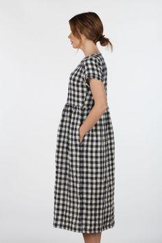 Linen-Navy-Gingham-Short-Sleeve-Full-Length-Dress-Model-No-17-Pyne-&-Smith-02.jpg