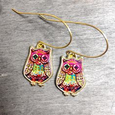 Owl Royal Bird With fabulous Colorful Ethnic Folk Tribal Boho Colors - Pink Gold Statement Gold Brass Earrings (95.00 ILS) by XenaStyle