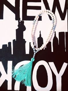 Silver and white tassel necklace from BeadedByW! #beadedbyw #newyork #tassel #necklace